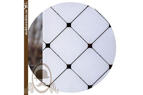 Зеркало узорчатое Фуджи ромбы белое, белый в фасады, двери, дизайна, интерьра | Резка по размеру | Стекло и Зеркала | Брянск