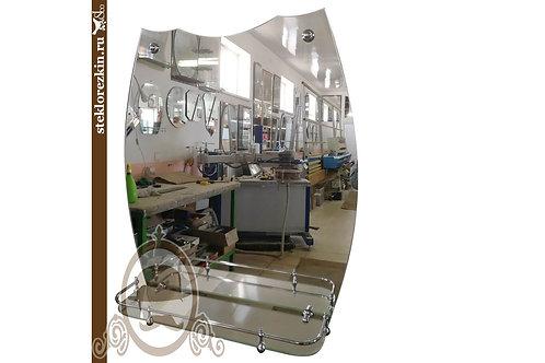 Зеркало №109 выпуклой формы для ванной комнаты со стеклянной полочкой | Купить | Сделать на заказ | Стекло и Зеркала | Брянск