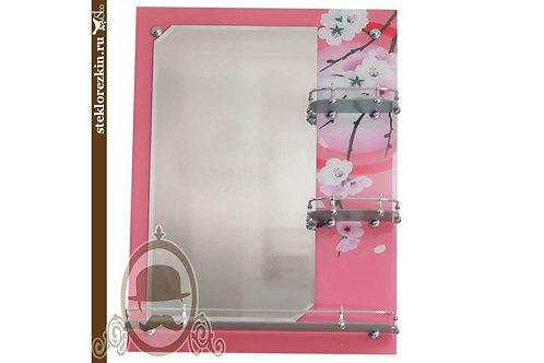 Зеркало №16.2 для ванной с полками 3 полки цвет розовый | Купить | На заказ другие цвета | Стекло и Зеркала | Брянск