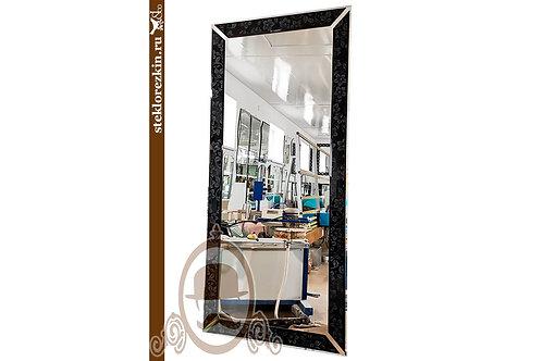 Зеркало №157.2 чёрное узор Магнолия современный стиль в прихожую | Купить | Заказ без посредников | Стекло и Зеркала | Брянск
