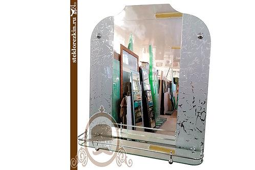 Зеркало №133 для ванной комнаты с полкой узорчатое Колотый лёд | Купить магазин зеркал | На заказ | Стекло и Зеркала | Брянск