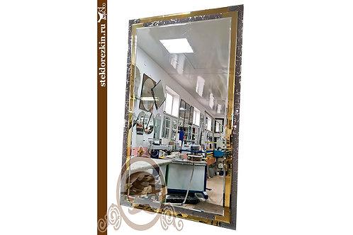 Зеркало №149 рамка из листовое зеркала золотое и Колотый лёд узорчатое   Купить   Изготовить   Стекло и Зеркала   Брянск