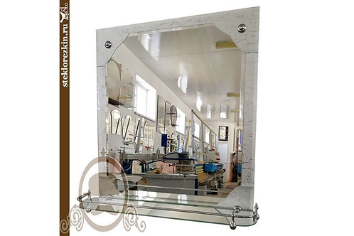 Зеркало №69 в ванную комнату с полкой узорчатое Колотый лёд | Купить магазин зеркал | На заказ | Стекло и Зеркала | Брянск
