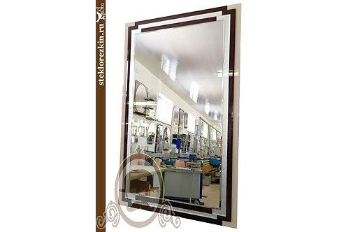 Зеркало №127 с фацетом для ванной со стеклом lacobel бежевый и коричневый | Купить | На заказ | Стекло и Зеркала | Брянск