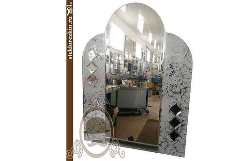 Зеркало №108 арочной формы в ванную с узорчатым зеркалом Магнолия серебро | Купить | Изготовить | Стекло и Зеркала | Брянск