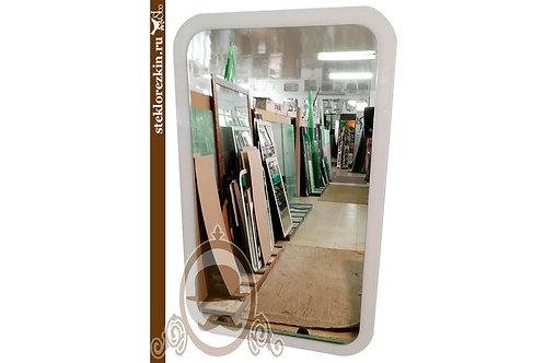 Зеркало №131 закругленные углы белое рамка lacobel Лакобель в ванную коридор | Купить | Заказать | Стекло и Зеркала | Брянск