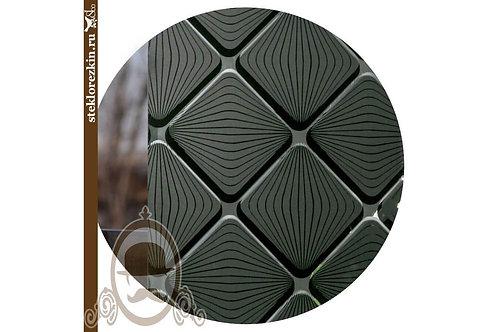 Зеркало узорами Фуджи ромбы чёрное, чёрный в фасады, скинали, кухонные фартуки | Резка по размеру | Стекло и Зеркала | Брянск