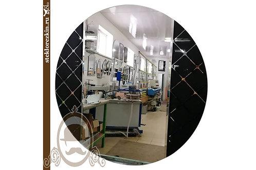 Зеркало №103 для ванной с узорчатым глянцевым стеклом Фуджи Форма круглая | Купить | Изготовить | Стекло и Зеркала | Брянск