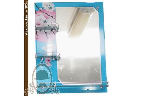Зеркало №16.1 для ванной комнаты с полками 3 полки цвет голубой | Купить | На заказ свой размер | Стекло и Зеркала | Брянск