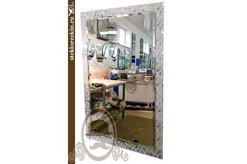 Зеркало №129 фацет и рама в коридор с узоррм Иви Вьюн серебристый цвет | Купить | Изготовление | Стекло и Зеркала | Брянск