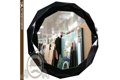 Зеркало №94 с бестыковочным багетом чёрного глянцевого цвета многогранник | Купить | Мои размеры | Стекло и Зеркала | Брянск