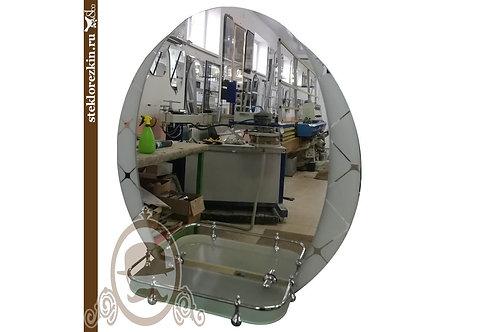 Зеркало №111 овальной формы в ванную с узорчатым белым зеркалом Фуджи полка | Купить | Изготовить | Стекло и Зеркала | Брянск