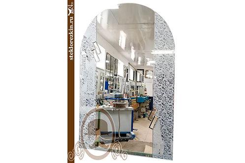 Зеркало №160 арочная форма белое серебряное с Иви Вьюн вьющийся узор в ванную | Купить | На заказ | Стекло и Зеркала | Брянск