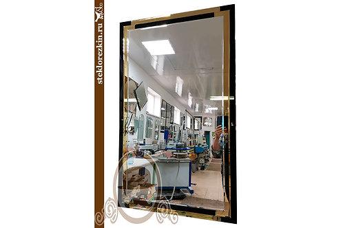 Зеркало №148 с рамкой 2 двух цветов чёрный Lacobel и золотой с фацетом | Купить | На заказ | Стекло и Зеркала | Брянск