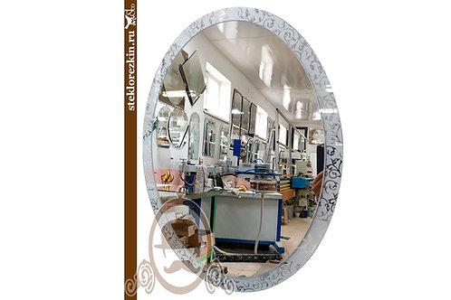Зеркало №156 овальное с узорчатой серебряной рамкой Иви Вьюн | Купить | Стекольная мастерская | Стекло и Зеркала | Брянск