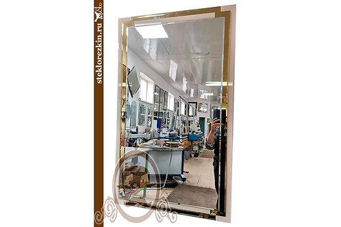 Зеркало №150 с рамой двухцветное Лакобель бежевый и золотое зеркало | Купить | Современное | Стекло и Зеркала | Брянск