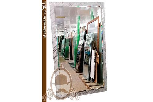 Зеркало №135 фацетом и рамой в прихоую узор Колотый лёд серебро | Купить | Изготовить на заказ | Стекло и Зеркала | Брянск