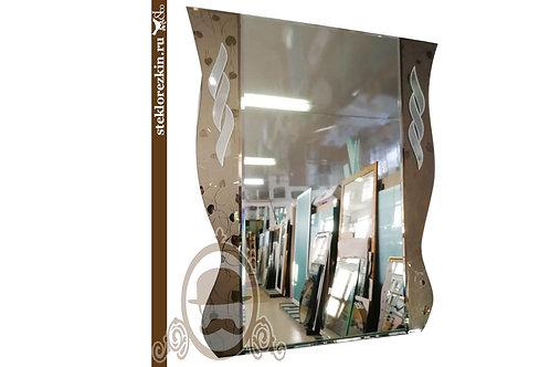 Зеркало №107 в коридор волнообразной формы с узорчатым зеркалом Плющ бронза | Купить | Заказать | Стекло и Зеркала | Брянск