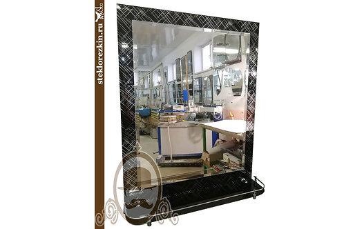 Зеркало №122 с узором Лабиринт диагональ Созвездение чёрное для ванной с полкой | Купить | Заказ | Стекло и Зеркала | Брянск