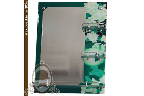 Зеркало №16.3 в ванную три полки цвет зеленый фотопечать картинка | Купить | Заказ изготовление | Стекло и Зеркала | Брянск