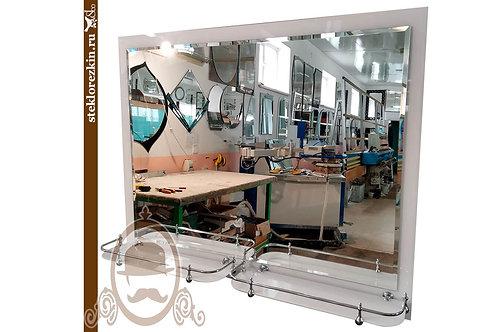 Зеркало №138 в ванную комнату с двумя полкками белое Лакобель | Купить магазин | На заказ | Стекло и Зеркала | Брянск