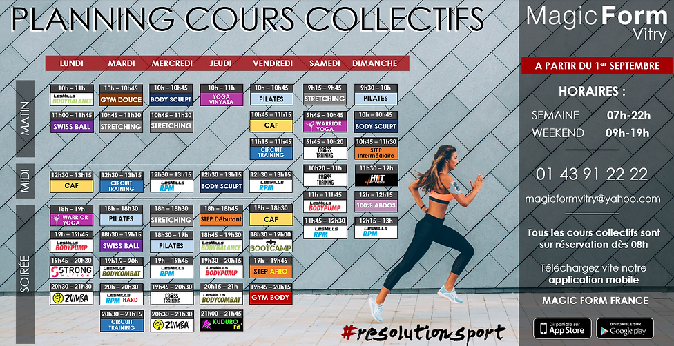 Planning de cours collectifs Magic Form