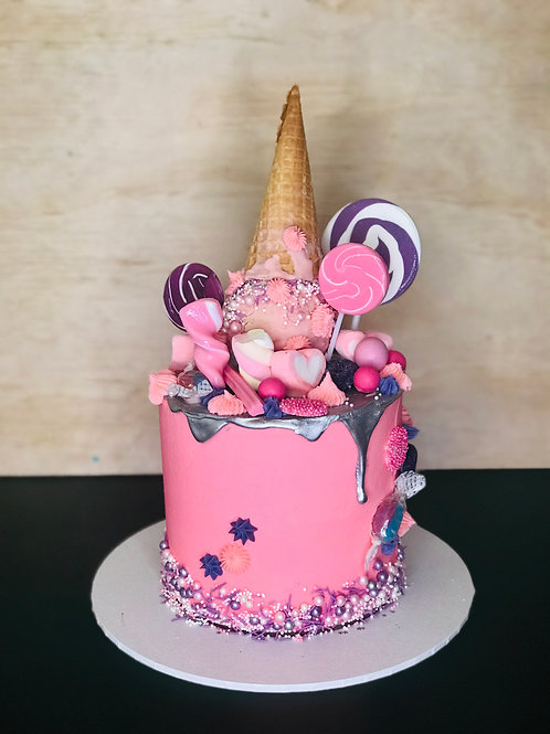 PINK and PURPLE Candy Coma Cake