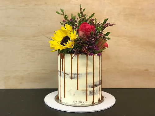 Semi Naked Drip Cake with Florals