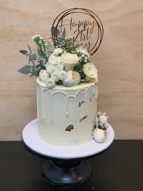 White Floral Drip Cake