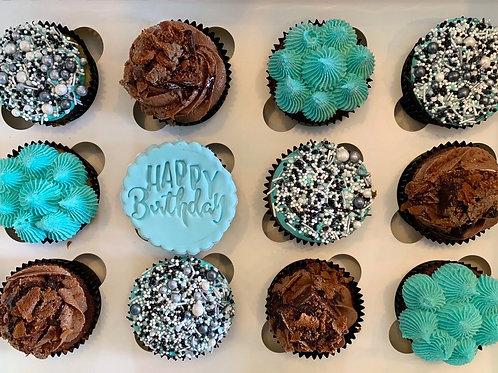 HAPPY BIRTHDAY CUPCAKES BLUE