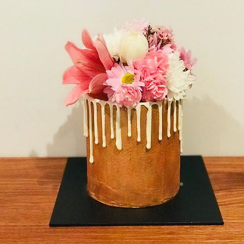 Painted Drip Cake with Florals