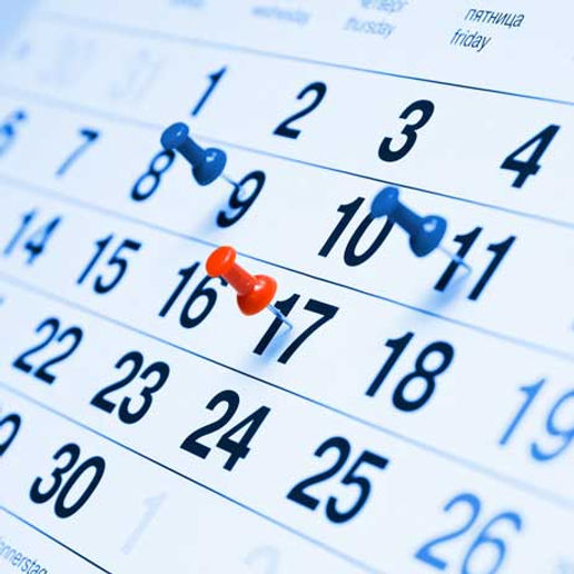 Important dates, calendar