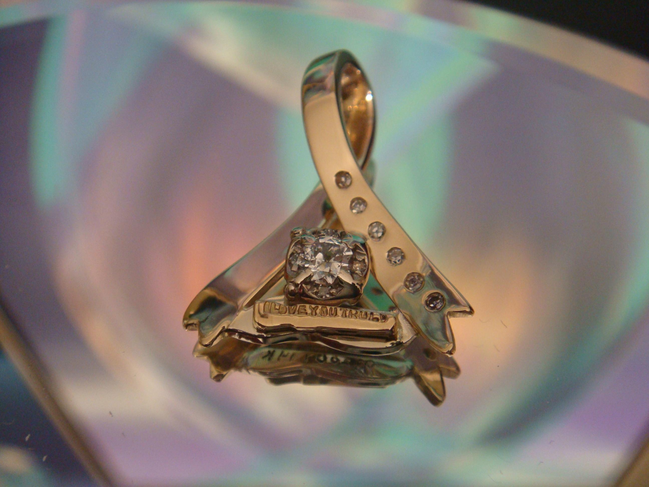 Memorial ribbon pendant