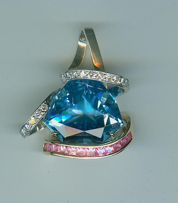 Blue topaz pink sapphires & diamonds