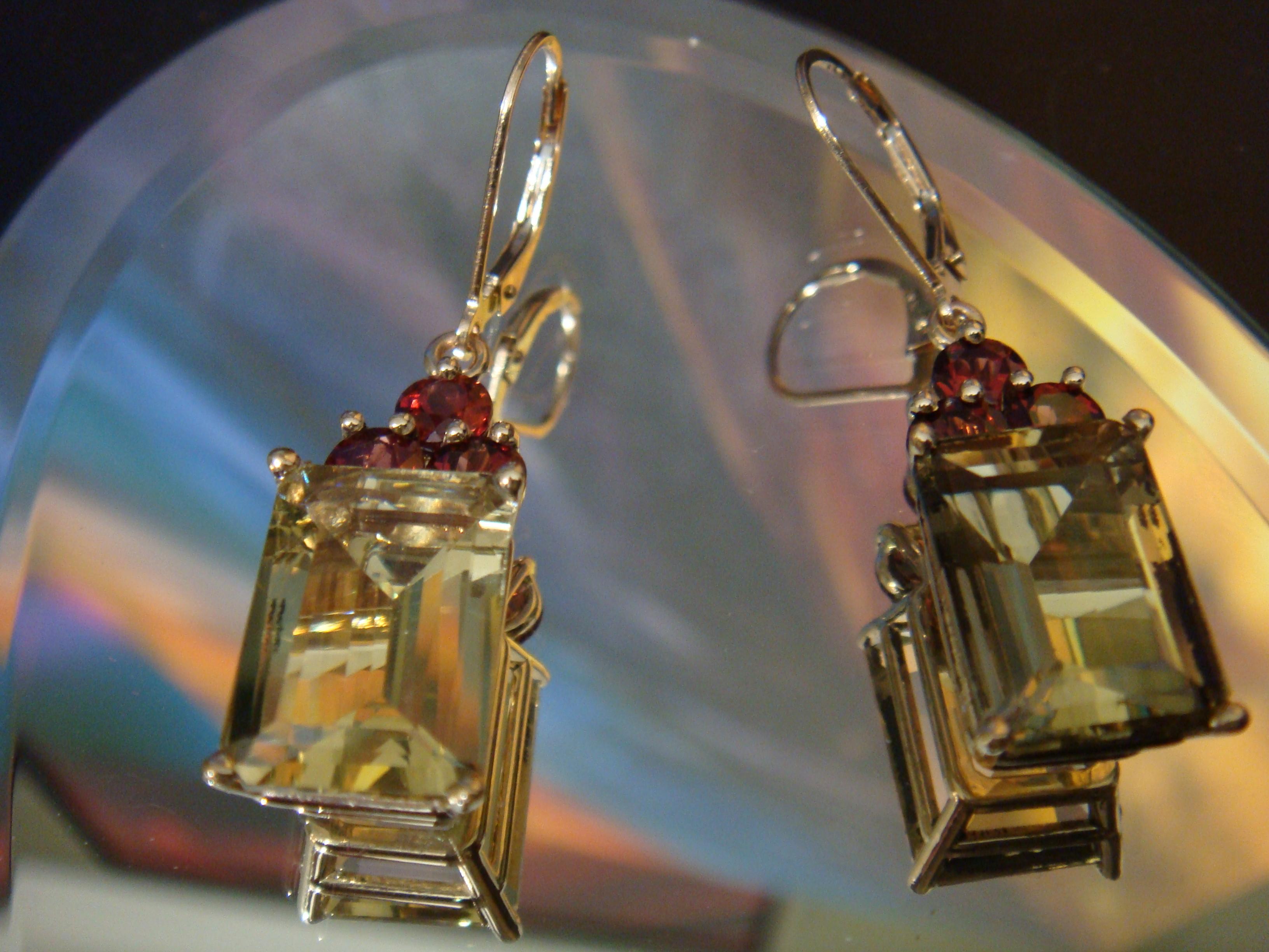 Citrine and garnet earrings