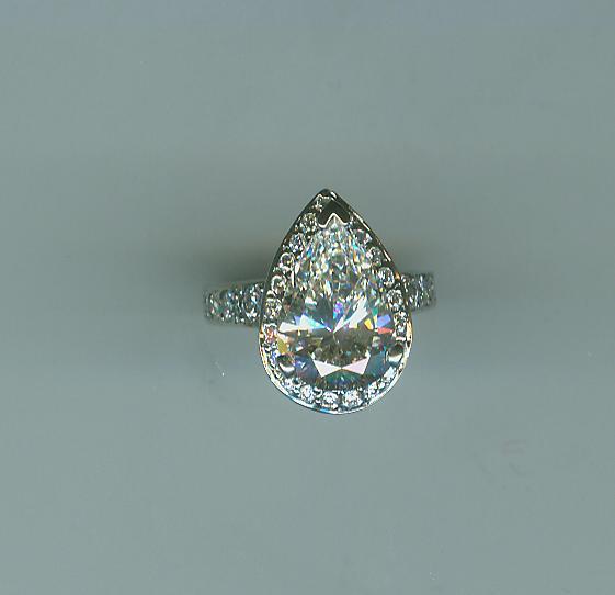 Pear Shaped Halo Dream Ring