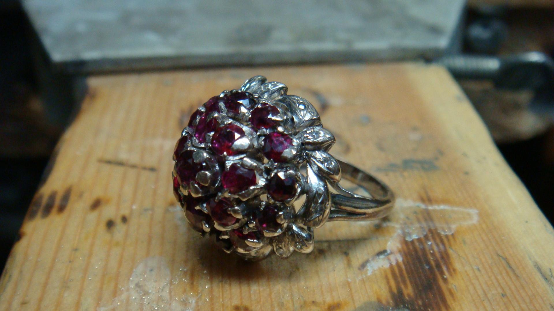 Grandma's ruby cluster ring