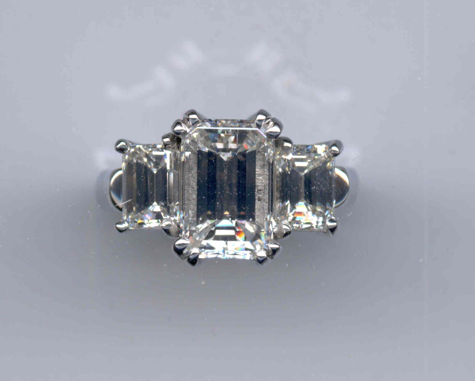 Three Emerald Cut Diamonds