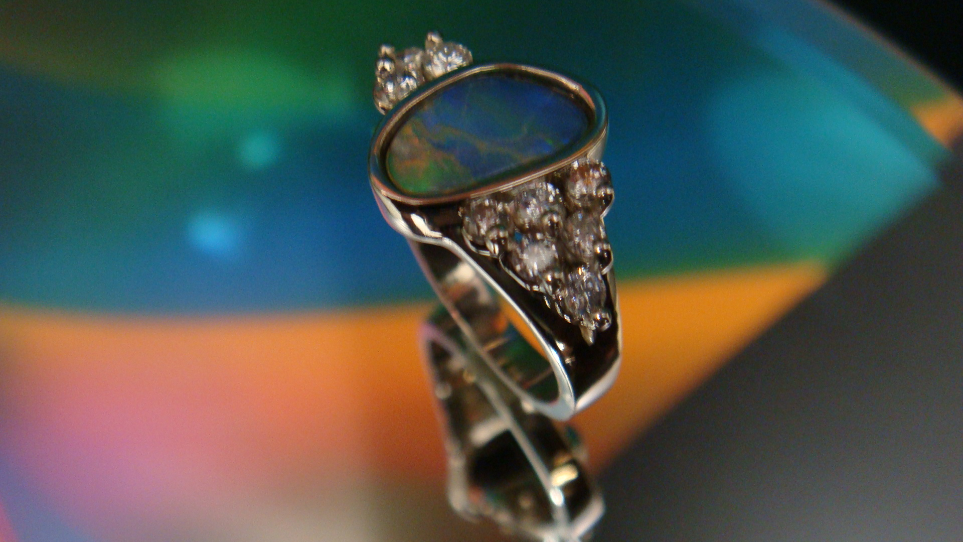 Opal and diamond wirework ring