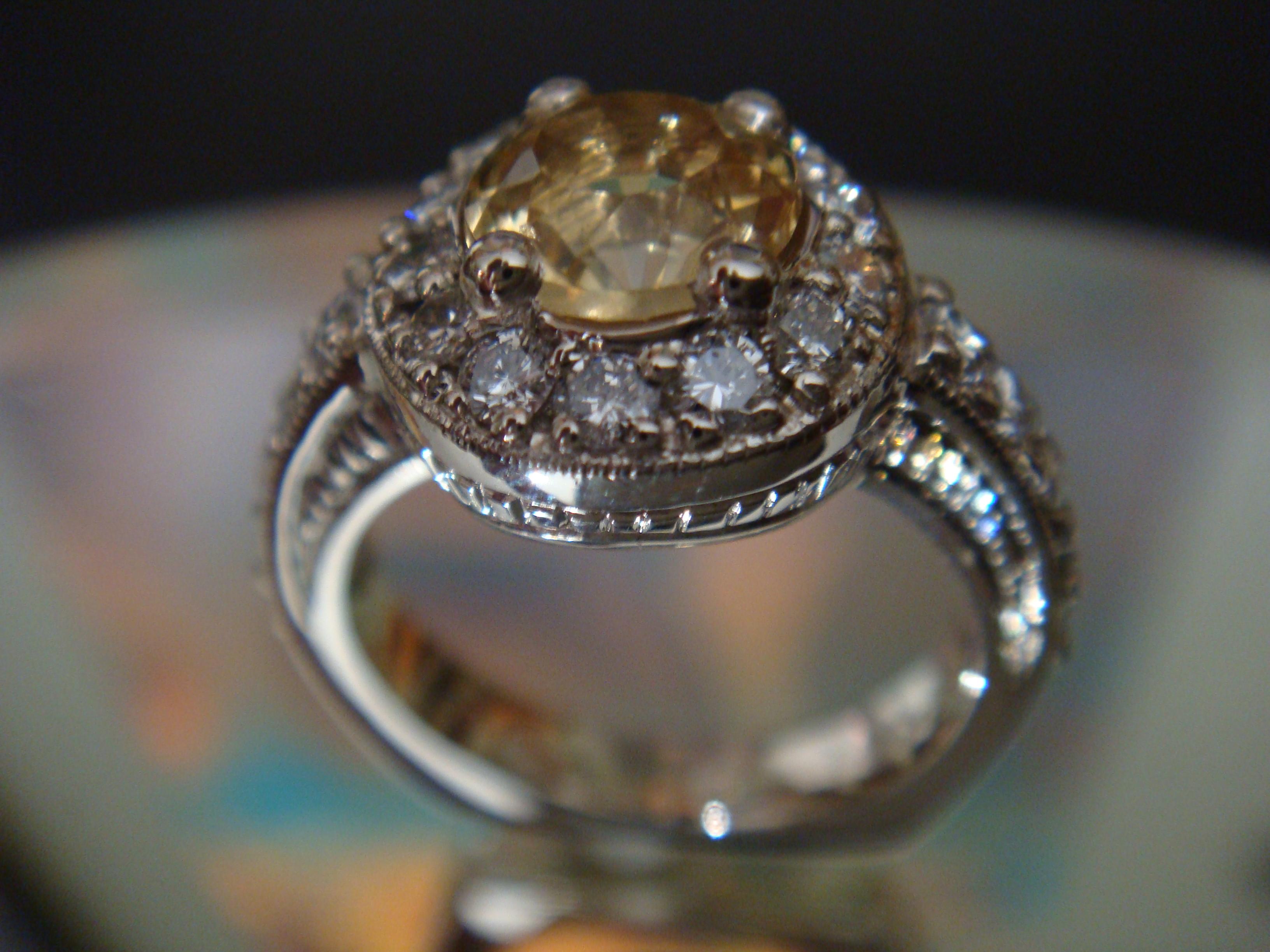 Yellow sapphire and diamonds