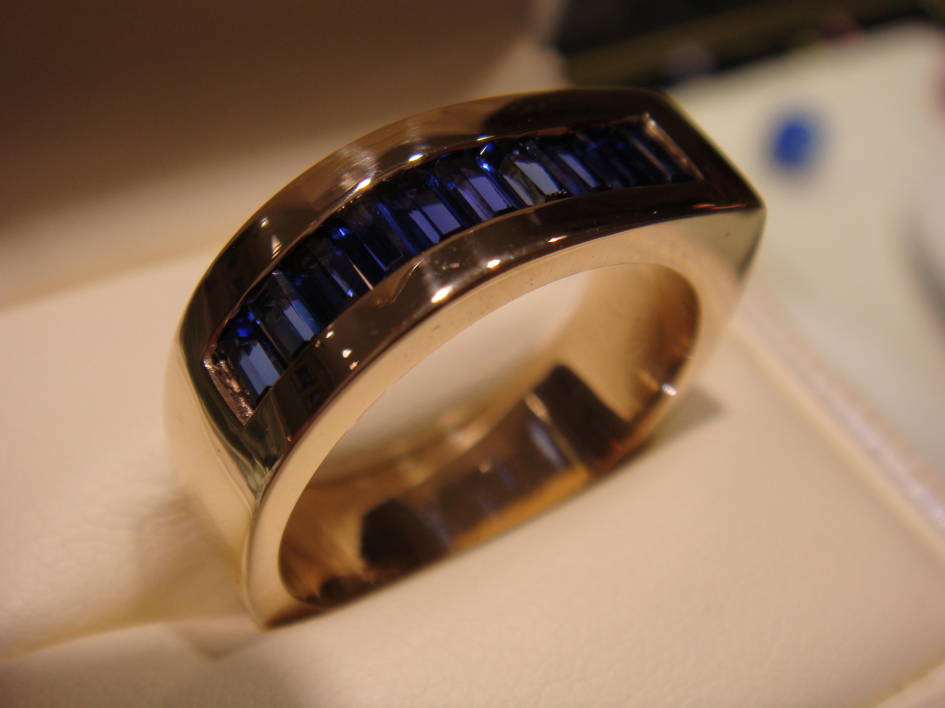 Blue sapphire baguette gents ring