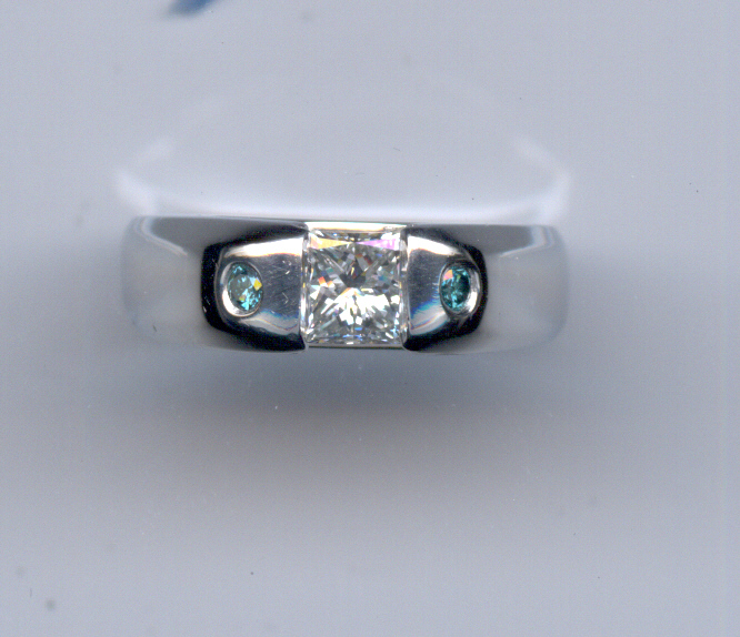 Princess with blue Diamond Accents