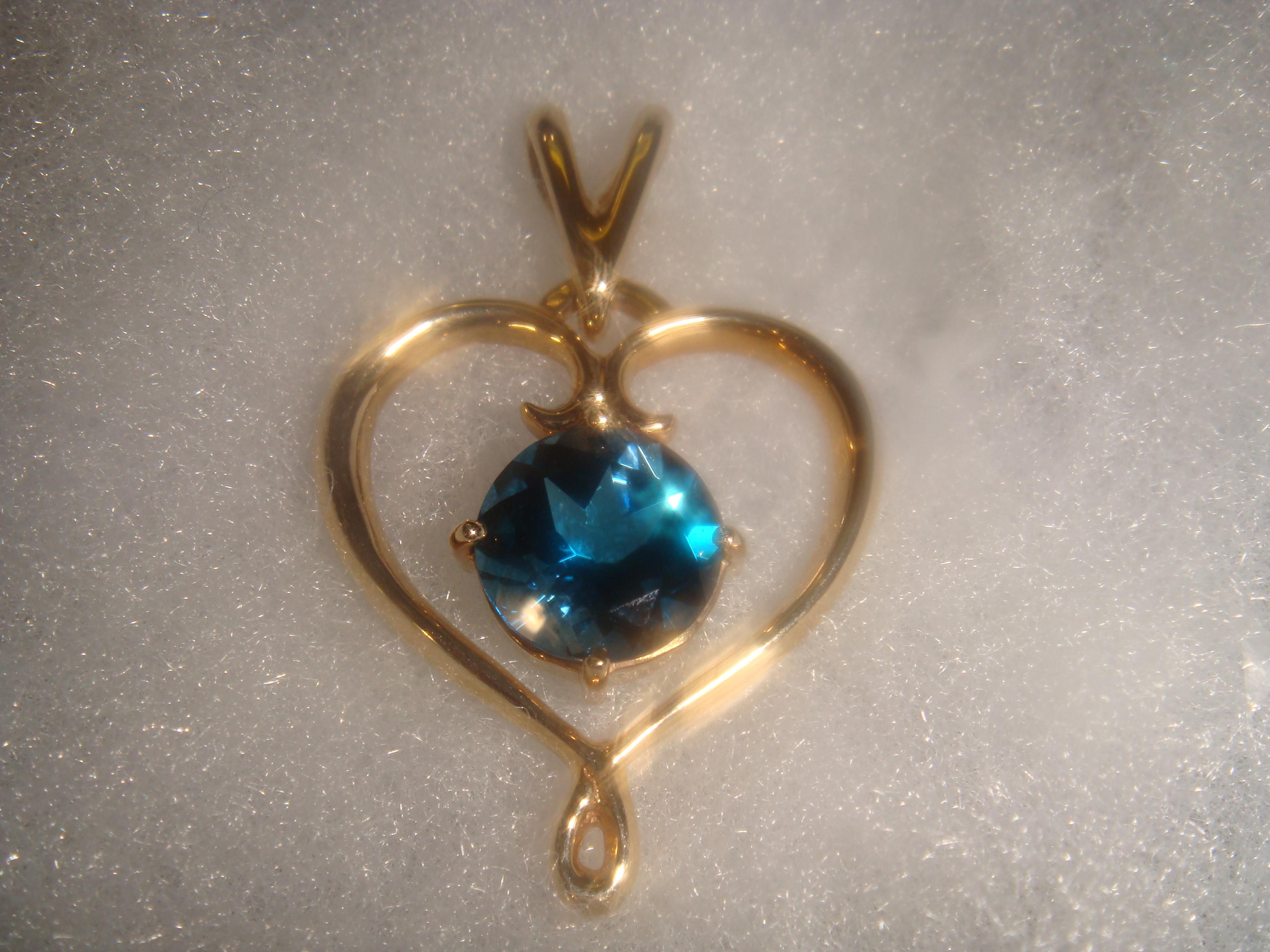 London blue topaz princess pendant