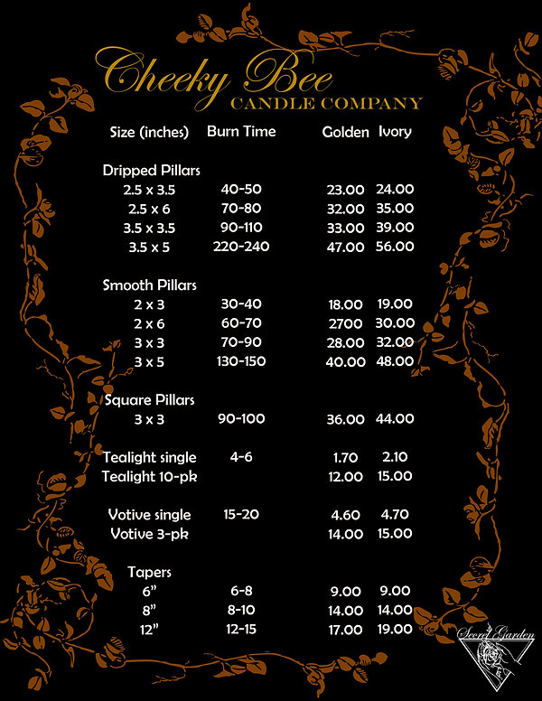 Cheeky Bee flyer burn times and prices.j