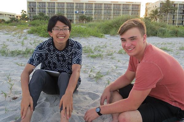 Seiga and Matthew on the beach.jpg