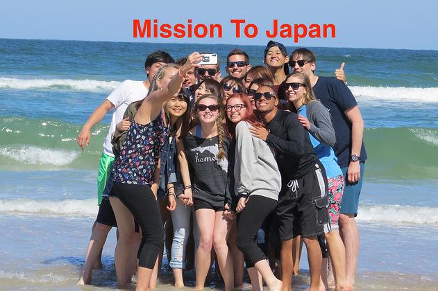 Faith's selfie with group on beach March