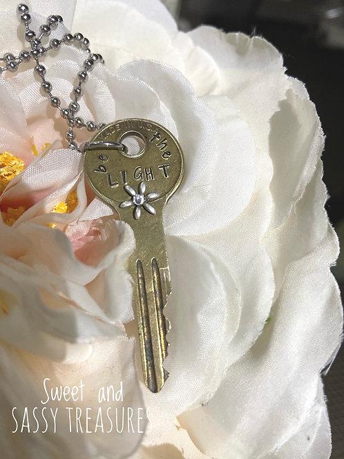 """""""Be the Light"""" Vintage Key Necklace"""