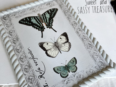Butterfly art using DIY paint, scrap wood and IOD products.