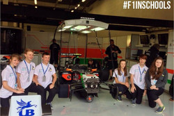 The Force India pits at Silverstone