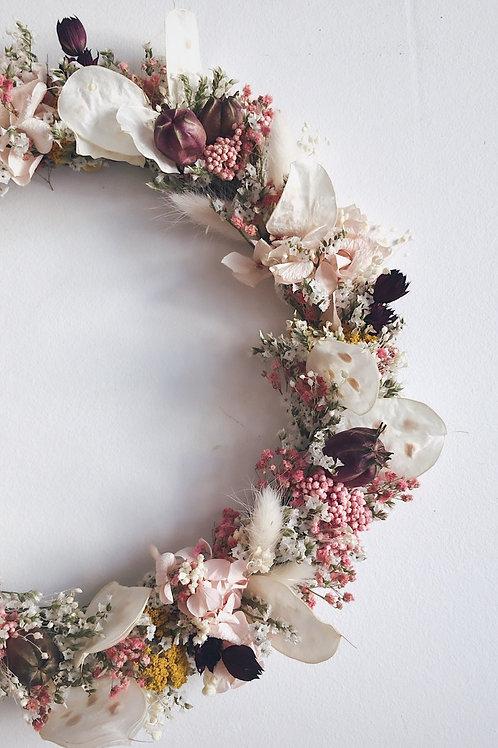 PRUNE, la couronne de fleurs séchées et stabilisées